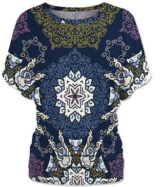 Udear UDEAR Women's Blouses Print - Navy Ornate Mandala Dolman Top - Women & Plus