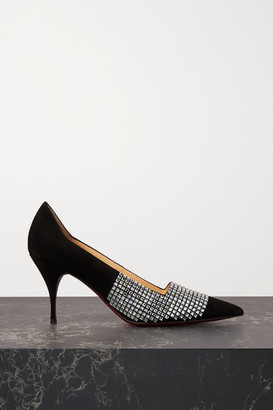 Christian Louboutin Championne Strass 80 Crystal-embellished Suede Pumps - Black