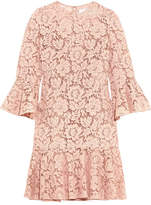 Valentino Ruffled Corded Cotton-blend Guipure Lace Mini Dress - Blush