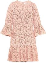 Valentino Ruffled Corded Cotton-blend Guipure Lace Mini Dress