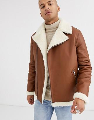 Asos DESIGN oversized biker jacket in tan faux leather