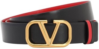 Valentino 30mm Reversible Vlogo Leather Belt