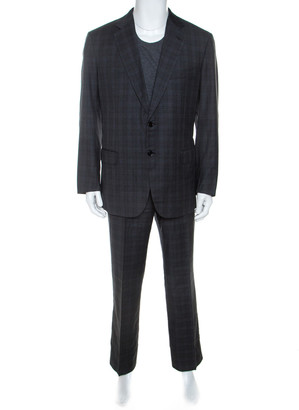 Brioni Grey Checked Wool Super 150s Parlamento Suit 2XL