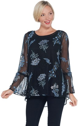 Dennis Basso Embroidered Mesh Blouse with Tank