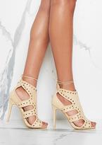 Missy Empire Aaliyah Cream Suede Eyelet Detail Cut Out Heels