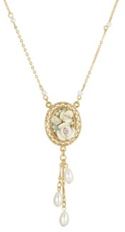 2028 Women's Gold Tone Ivory Porcelain Rose Oval Pendant with Imitation Pearl Drop Necklace