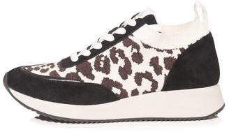 Loeffler Randall Remi Lace Up Sneaker in Leopard/Black