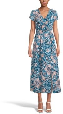 INC International Concepts Inc Printed Smocked-Waist Maxi Dress, Created for Macy's