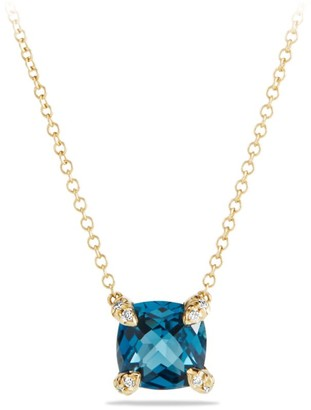 David Yurman Chatelaine Pendant Necklace with Gemstone & Diamonds in 18K Yellow Gold/7mm