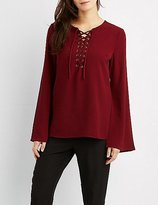 Charlotte Russe Lace-Up Bell Sleeve Blouse