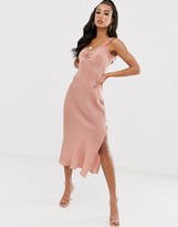 House Of Stars satin slip dress with high split and lace detail