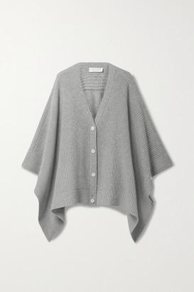 Michael Kors Collection Ribbed Melange Cashmere Cardigan - Light gray
