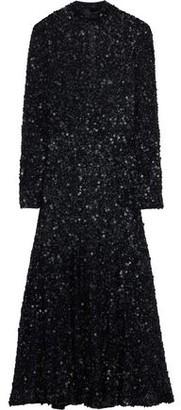 Rachel Gilbert Trixie Sequined Tulle Turtleneck Midi Dress