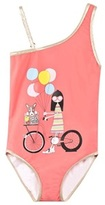 Little Marc Jacobs Coral Miss Marc Balloon Bike Print Swimsuit
