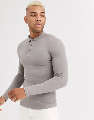 BEIGE Asos Design ASOS DESIGN organic muscle fit long sleeve pique polo in