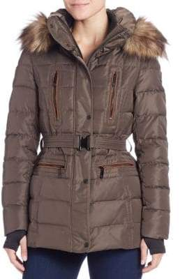 Vince Camuto Faux Fur-Trimmed Puffer Jacket