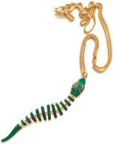 Kenneth Jay Lane Green & Navy Enamel Fish Pendant Necklace-Moveable