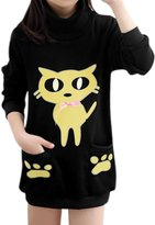 uxcell® Girls Mock Neck Footprint Cat Pattern Tunic Sweatshirt