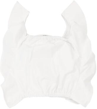 Cotton Poplin Top W/ Ruffles