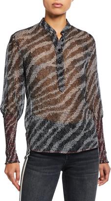 Rag & Bone Maris Zebra Silk Popover Blouse