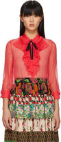 Gucci Red Bow Collar Blouse