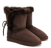 Mou Minky Brown Lace Boots with Fur Trim