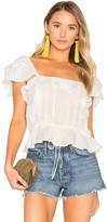 For Love & Lemons Crema Silk Blouse in White. - size L (also in M,S,XS)
