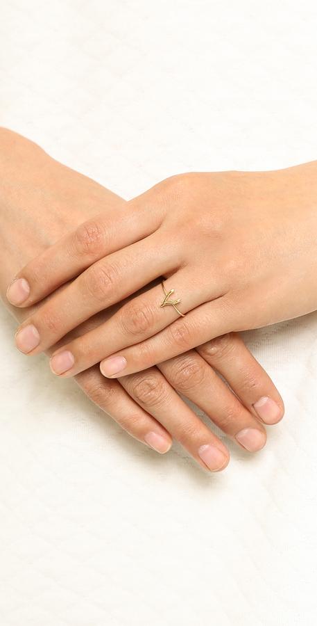 Jennifer Meyer Jewelry 18k Gold Mini Wishbone Ring