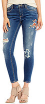 Miss Me Destructed Floral-Embroidered Ankle Skinny Jeans