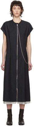 Acne Studios Navy Wool Pinstripe Zip-Front Dress