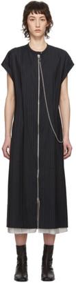 Acne Studios Navy Wool Pinstripe Zip-Front Dress