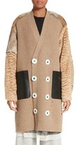 Undercover Knit Cardigan Coat with Leather, Mohair & Genuine Rabbit Fur Trim