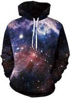 Ensnovo Unisex 3D Digital Print Galaxy Pocket Pullover Hooded Sweatshirt galaxynavy M