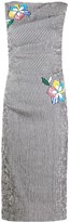 Talbot Runhof striped floral-applique dress