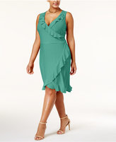 Love Squared Trendy Plus Size Ruffled Faux-Wrap Dress