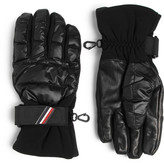 Moncler Shell, Leather And Jersey Down Ski Gloves
