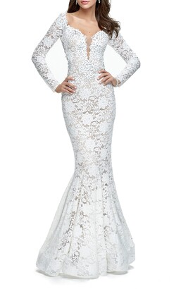 La Femme Lace Long Sleeve Mermaid Gown