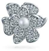 Bling Jewelry Crystal Rose Flower Mothers Love Pin Round Simulated White Pearl Rhodium Plated.