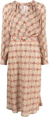 Elisabetta Franchi Horsebit Buckle-Print Dress