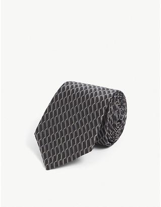 Canali Contrast geometric silk-jacquard tie