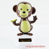 SpeedMotion, Multi-Set Solar Power Toy Dancing Cute Figurine Bobble Head for Home and Car Decor Gift - USA Seller (Brown Boy Monkey)