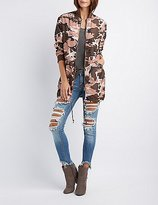 Charlotte Russe Camo Longline Bomber Jacket