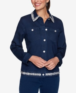 Alfred Dunner Women's Missy Denim Friendly Jacket with Boucle Trim