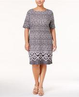 Karen Scott Plus Size Ikat-Print Boat-Neck Dress, Created for Macy's