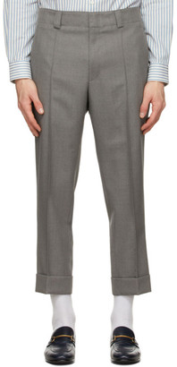 Ermenegildo Zegna Grey Wool Pleated Trousers