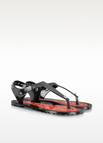Marc by Marc Jacobs Black Rubber Jelly Thong Sandals