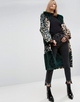 Asos Longline Coat in Patched Animal Faux Fur