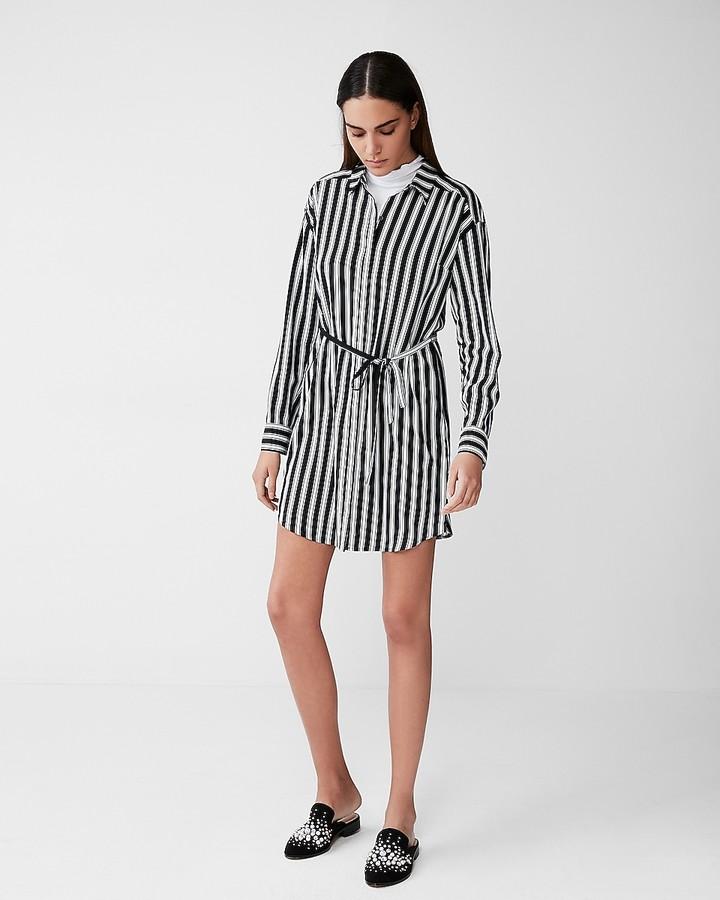 Express Striped Long Sleeve Pocket Shirt Dress