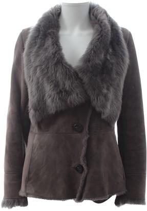 Karl Donoghue Grey Shearling Coat for Women