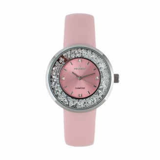 Peugeot Women's Diamond Accent & Floating Crystal Leather Watch - 3041PK